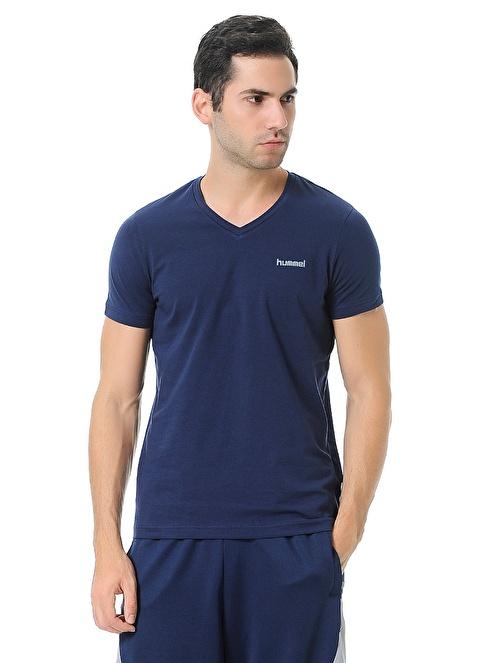 Hummel V Yaka Tişört Mavi